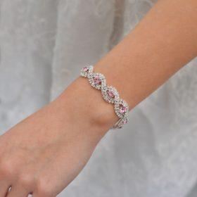 bracelet de mariée cristal rose