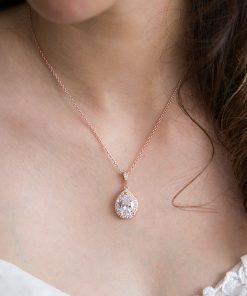 collier or rose mariage zircon
