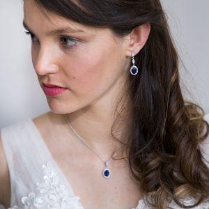 parure bijoux mariage cristal bleu pendentif oval