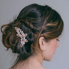 Peigne cheveux feuilles bijou tête dore rose