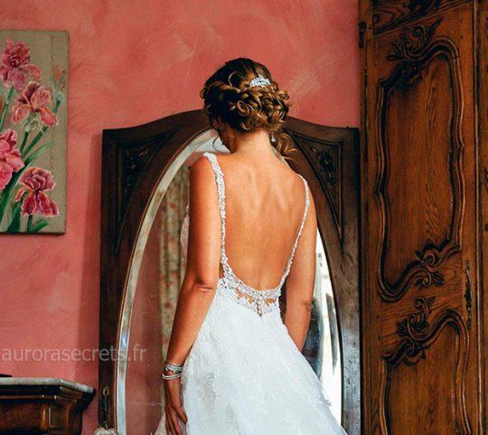 Peigne cheveux mariage feuilles cristal oxyde de zirconium vu dos
