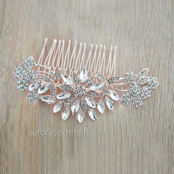 peigne cheveux mariee fleur cristal 3