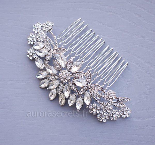 peigne cheveux mariee fleur cristal 4