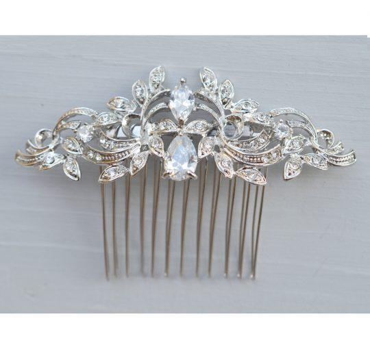 peigne coiffure mariage cristal argente 3