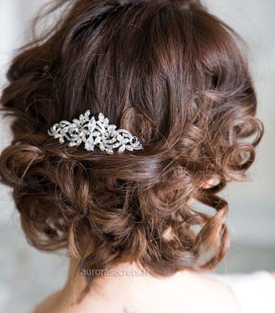 peigne coiffure mariage cristal argente