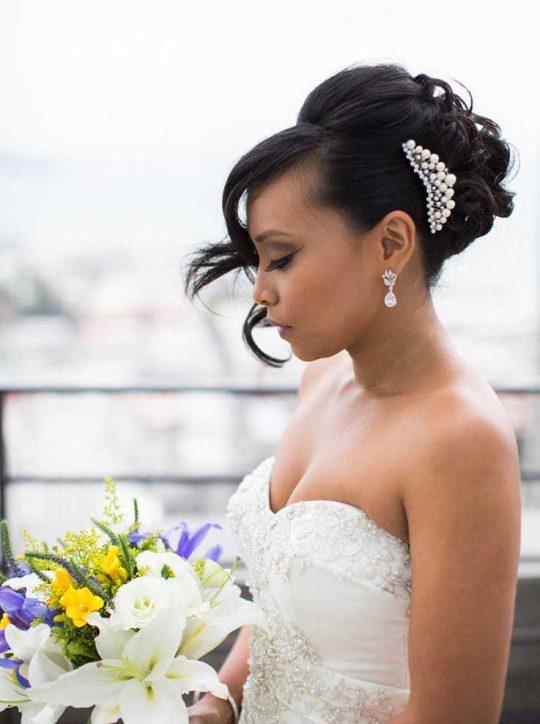 Boucles d'oreilles mariage pendantes en cristal Reni