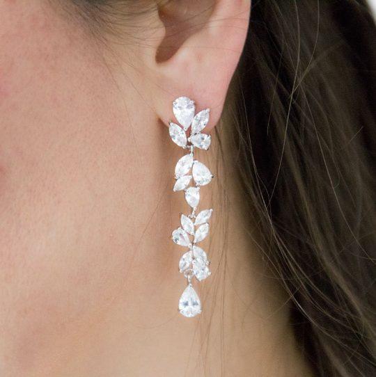 Boucles d'oreilles pour mariage pendantes cristal