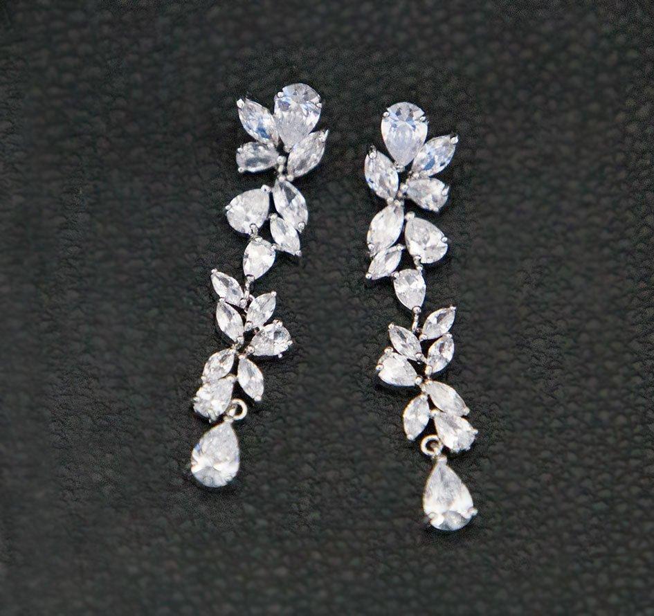 boucles d'oreilles pendantes argent mariage