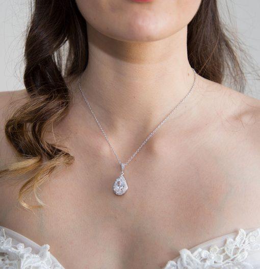 Collier cristal mariage argenté