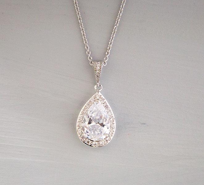 Collier cristal mariage en forme de goutte, bijoux mariage Swarovski
