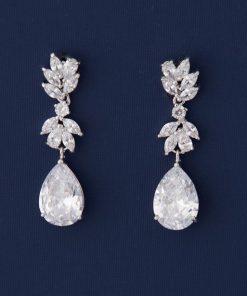 Boucles d'oreilles pour mariée ou soirée ornées oxydes de zirconium