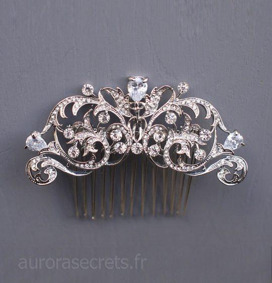 Peigne cristal mariage, bijou de tête romantique chic