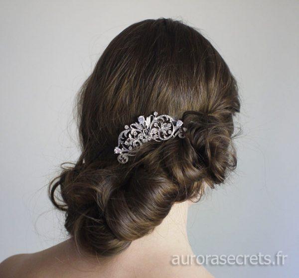 Peigne cristal mariage, bijou de tête romantique