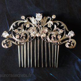 Peigne cristal mariage, bijou de tête royal