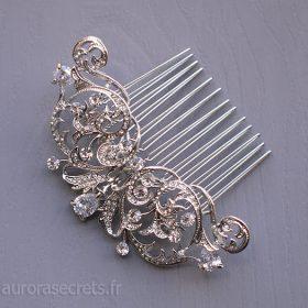 Peigne cristal mariage, bijou de tête romantique argenté