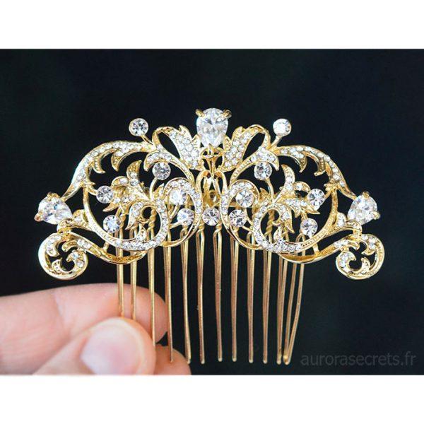 Peigne cristal mariage, bijou de tête romantique doré