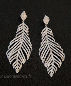 Boucles d'oreilles feuilles longues en Zircon pour mariage