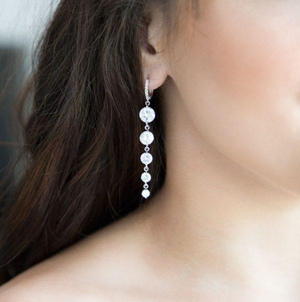 Boucles d'oreilles longues pendantes pour mariage