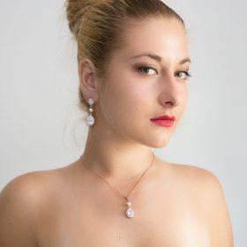 Parure de bijoux mariage rose gold cristal perles Swarovski