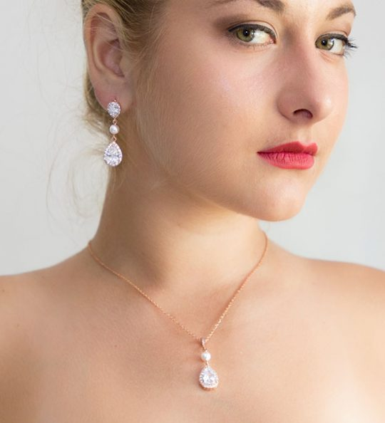 Parure de bijoux mariage rose gold cristal et perles Swarovski