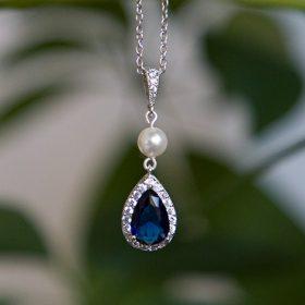 Parure de bijoux mariage bleu cristal et perles Swarovski 2