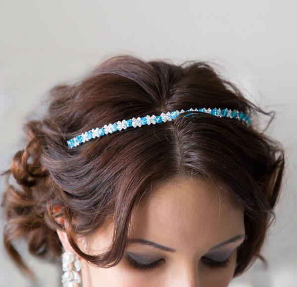 Serre-tête mariage cristal Swarovski, perles en cristal bleues