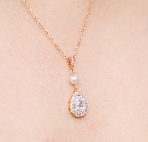 Parure de bijoux mariage rose gold cristal perles
