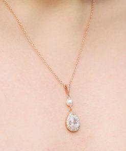 Parure de bijoux mariage rose gold cristal et perles