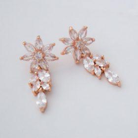 Boucles d'oreilles mariée rose gold pendantes