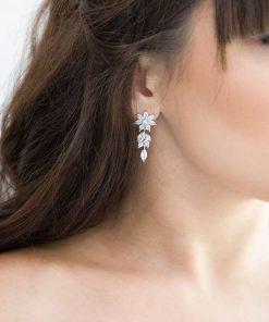 boucles d'oreilles mariage brillantes oxydes de zirconium