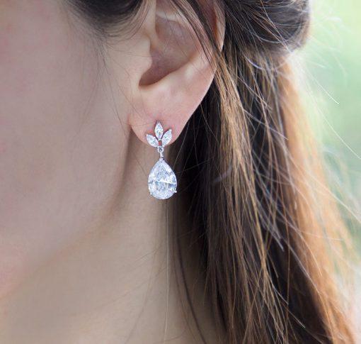 boucles d'oreilles mariage cristal goutte