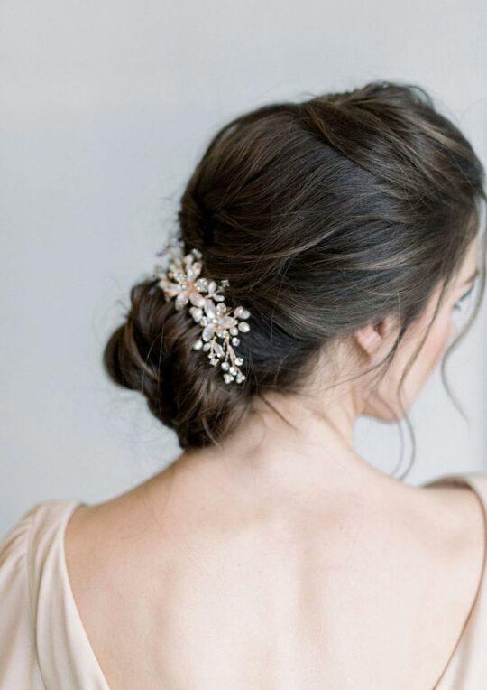 Peigne mariage cristal perles naturelles Romy