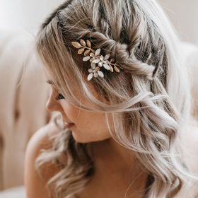 bijou cheveux mariage peigne fleurs feuilles