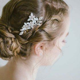 bijou cheveux mariage peigne fleurs feuilles 3