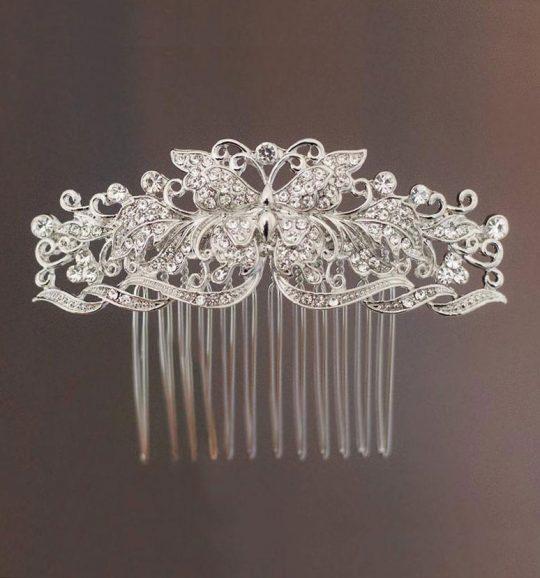 Peigne coiffure mariage papillon en cristal