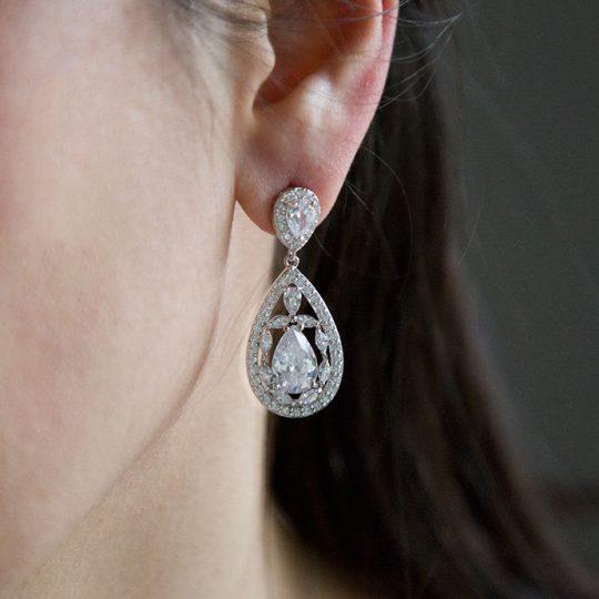 boucles d'oreilles de mariage en cristal