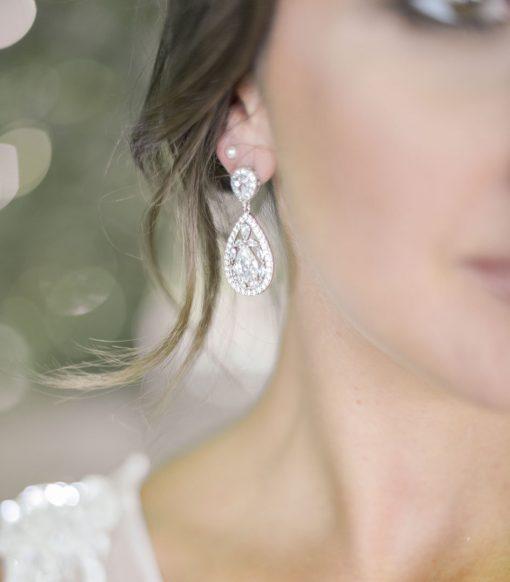 boucles d'oreilles mariage en cristal