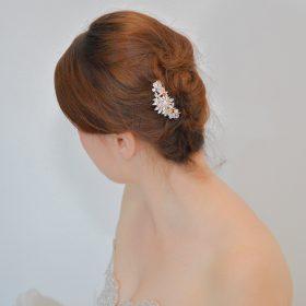 peigne coiffure mariage rose gold
