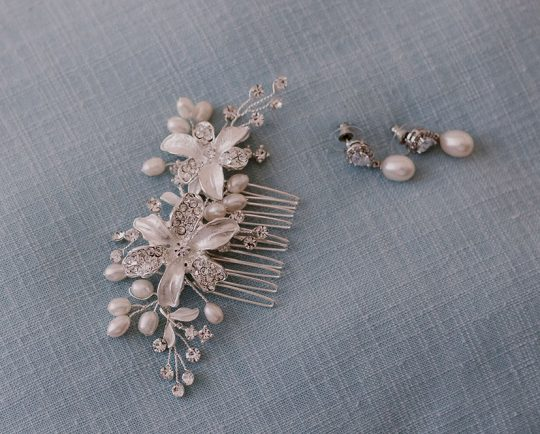 peigne mariage cristal et perles naturelles