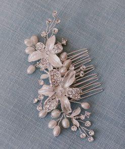 peigne mariage avec cristal et perles naturelles