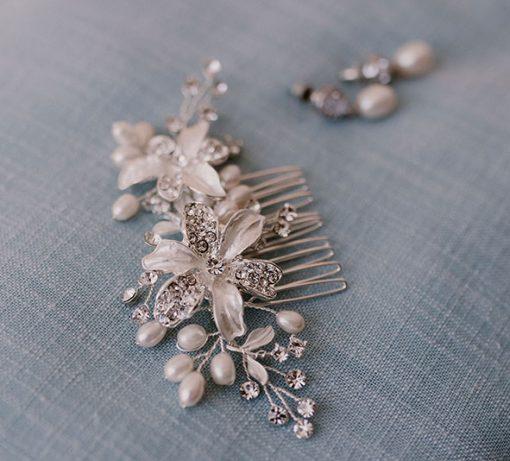 peigne mariage cristal perles naturelles