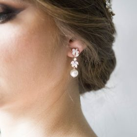 Boucles d'oreilles mariage pendantes perles Swarovski