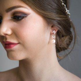 Boucles d'oreilles mariage pendantes perles Swarovski et Zircon Annalisa