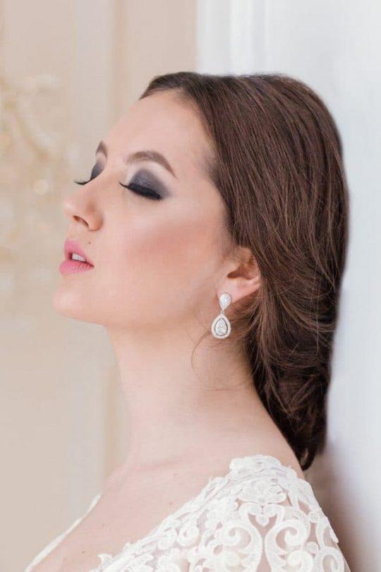 """Boucles d'oreilles mariée goutte avec Oxydes de zirconium """"Daniela"""""""