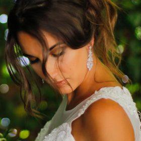Boucles d'oreilles mariée pendantes avec Oxydes de zirconium Sandra