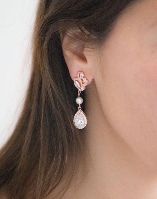 Boucles d'oreilles mariée rose gold perles pendantes