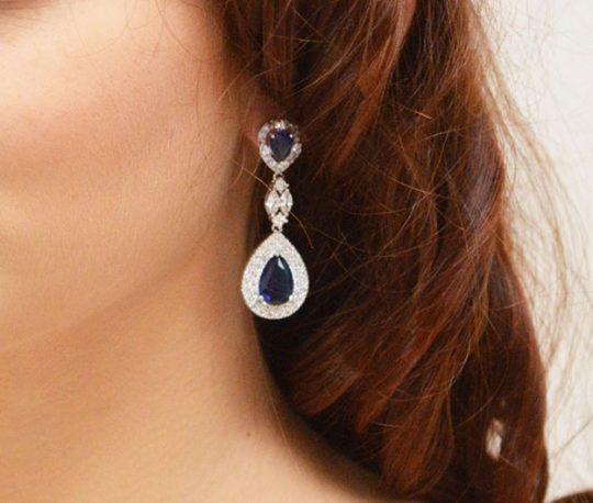 boucles d'oreilles bleu en cristal Zircon