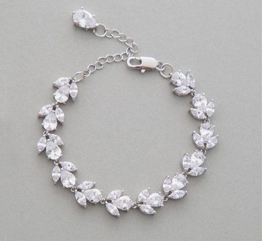bracelet mariage cristal argenté