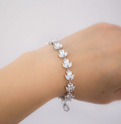 bracelet mariage argenté en cristal Zircon