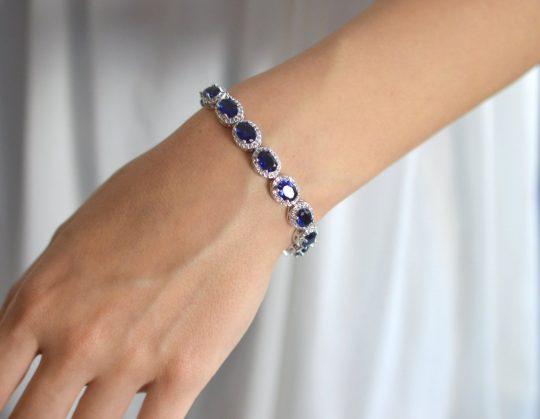 bracelet mariage bleu en cristal Zircon